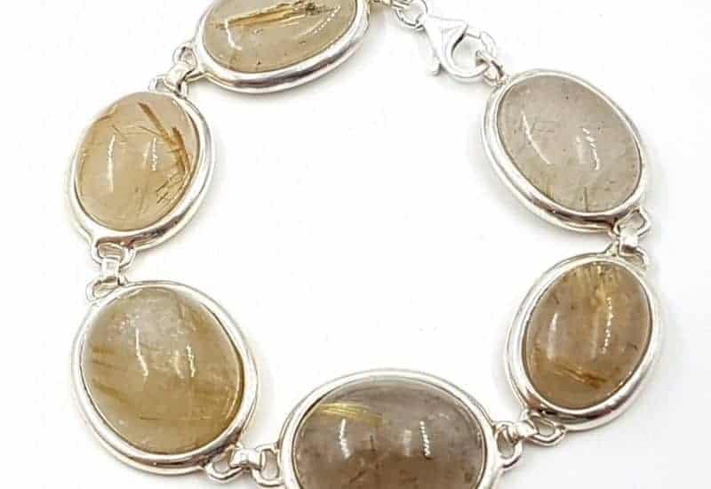 Preciosa pulsera de Cuarzo Rutilado fabricada en plata de ley