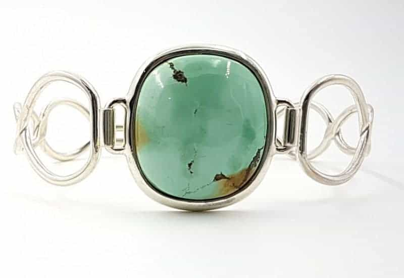 Bonita pulsera de Turquesa natural fabricada en plata de ley