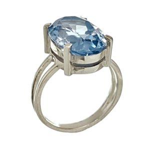 Anillo de plata 925 con piedra oval de topacio azul de talla 18