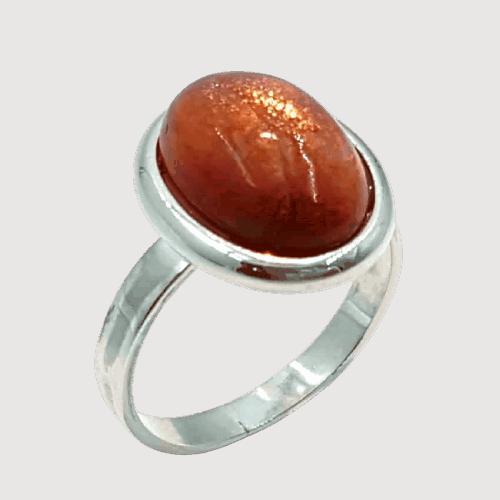 Anillo de Piedra Sol fabricado en plata 925 talla 19