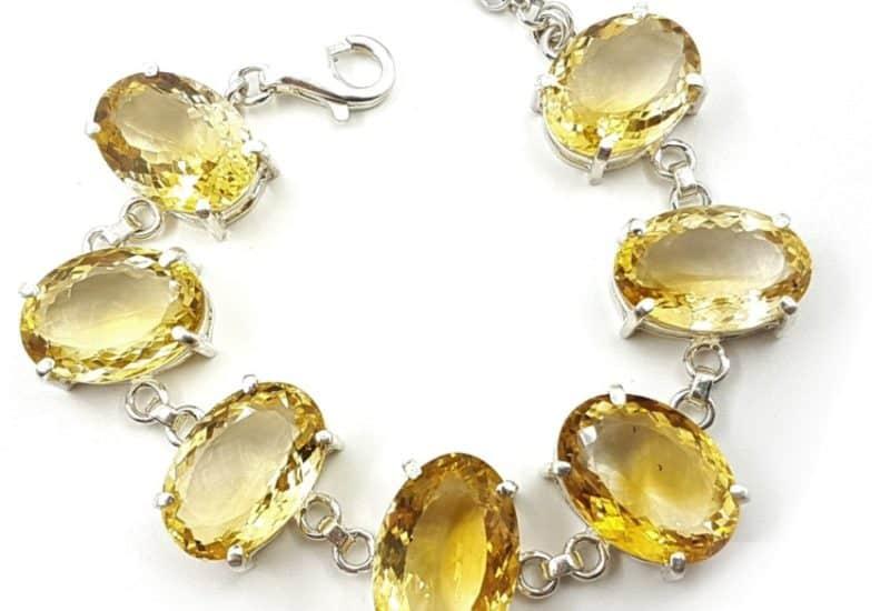 Joya exclusiva de cuarzo citrino natural piedras ovales.