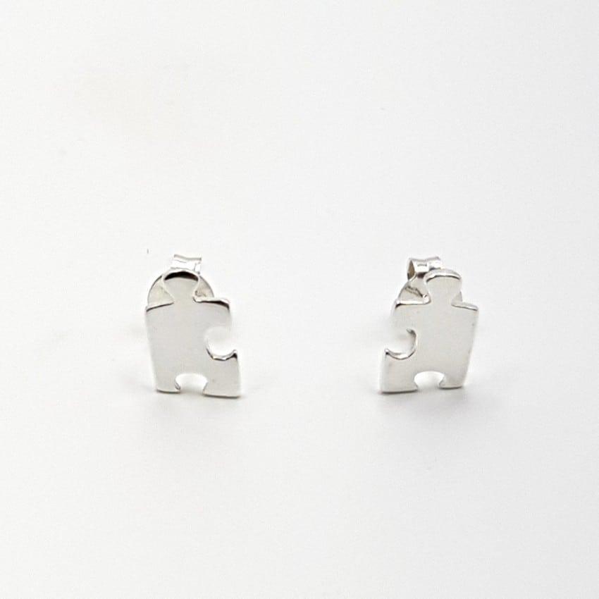 Pendientes con pieza de puzzle en plata