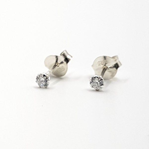 Pendientes con circonita en plata