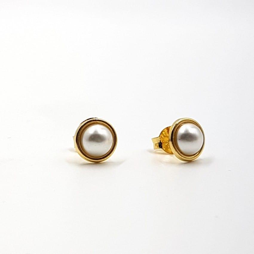 Pendientes de plata con baño de oro y perla sintética