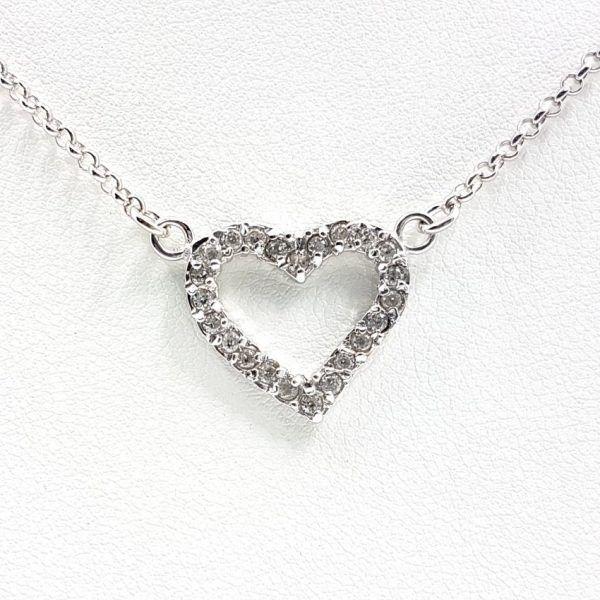 Colgante corazón con circonitas + gargantilla en plata