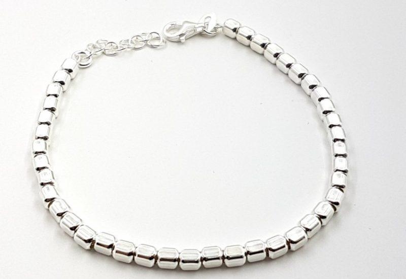Pulsera de plata de ley 925 mls- Cilindro facetado, ancho 3 mm