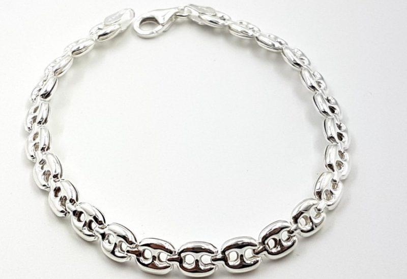 Pulsera en plata de ley 925 mls- 18.5 cm- Calabrote, ancho 5.5 mm
