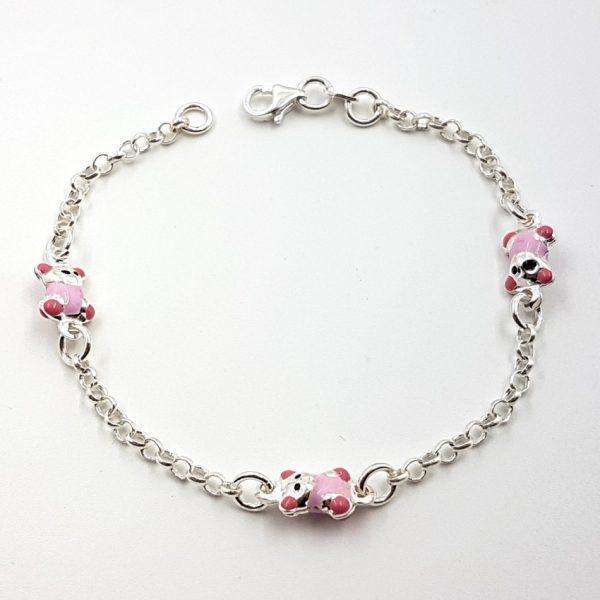 Pulsera de plata con ositos rosas