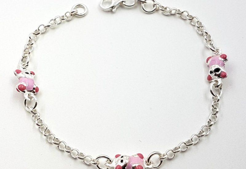 Pulsera de plata de ley 925 mls- Ositos rosas