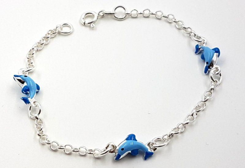 Pulsera de plata de ley 925 mls- Delfínes azules