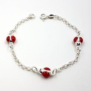 Pulsera de plata con mariquitas rojas