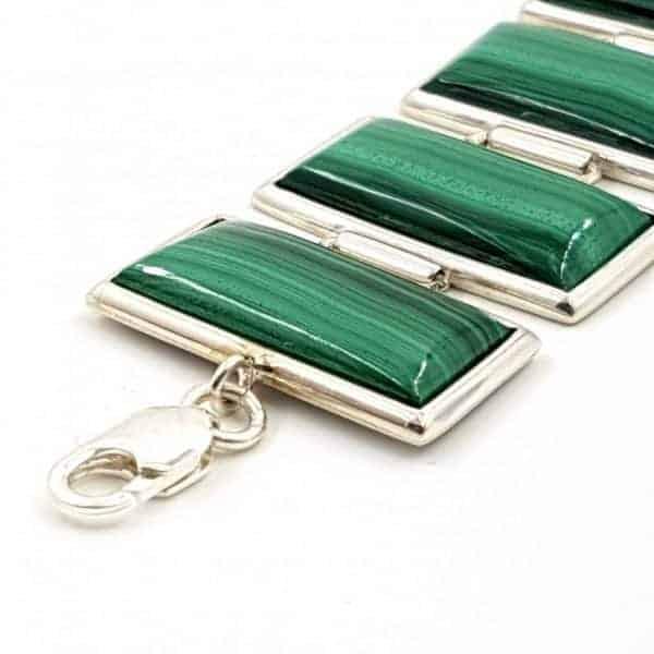 Pulsera de plata con cabujones rectangulares de malaquita