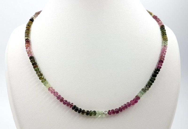 Collar de turmalina facetada rosa (rubelita), verde (verdelita) y turmalina sandía