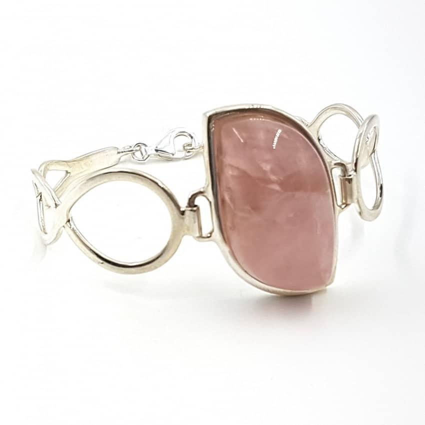 Pulsera de Cuarzo Rosa fabricada en plata