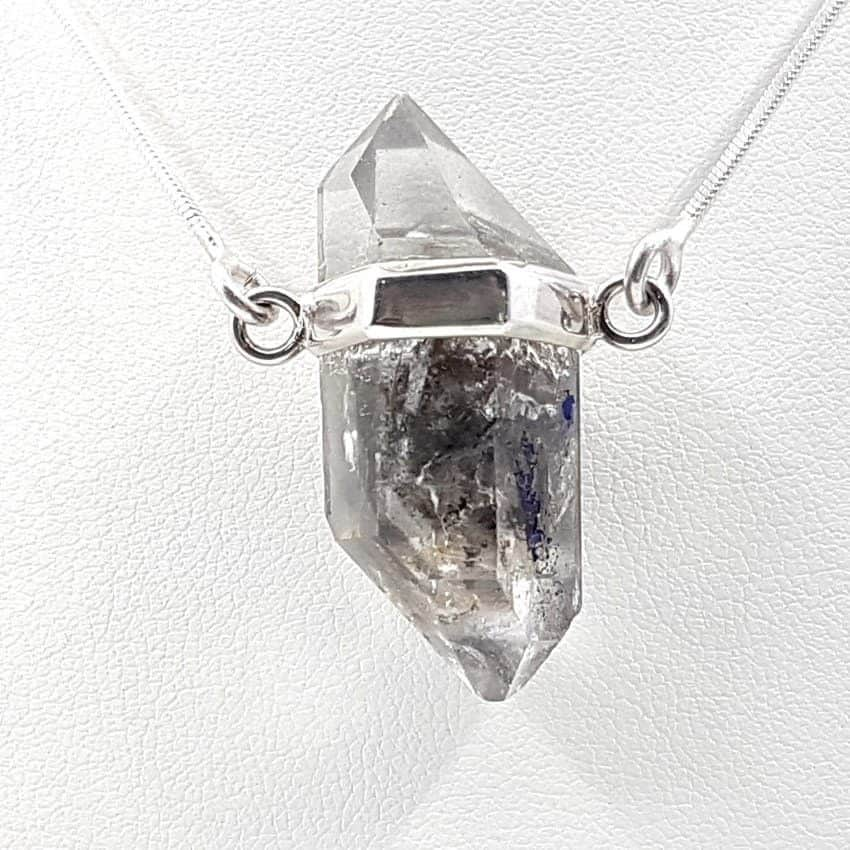 Colgante de Cuarzo cristal de roca fabricado en plata