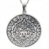 Amuleto Calendario Azteca, colgante de plata