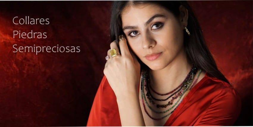 Los collares de gemas semipreciosas, piedras naturales de LaMinadePlata.com, Fotografía de nuestra modelo mostrando collares de Rubí, esmeralda, zafiros y turmalina