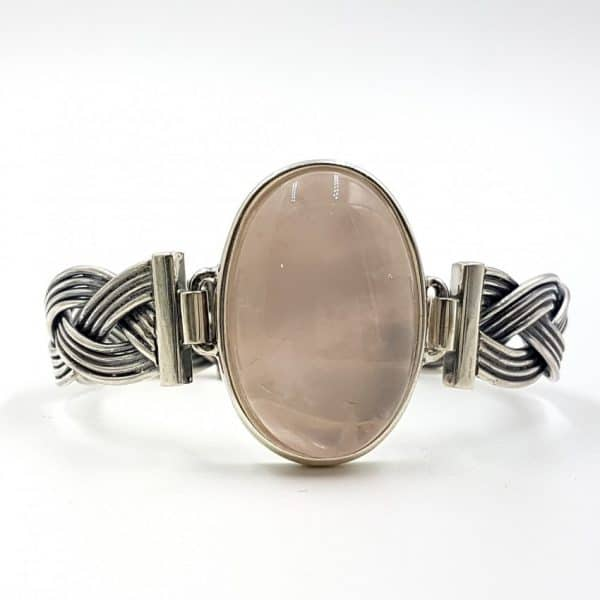 Pulsera de cuarzo rosa ovalado en plata