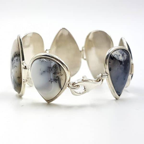 Pulsera de ópalo dendrítico en plata, forma de gota