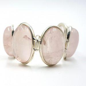 Pulsera de cuarzo rosa en plata, con cabujones ovalados