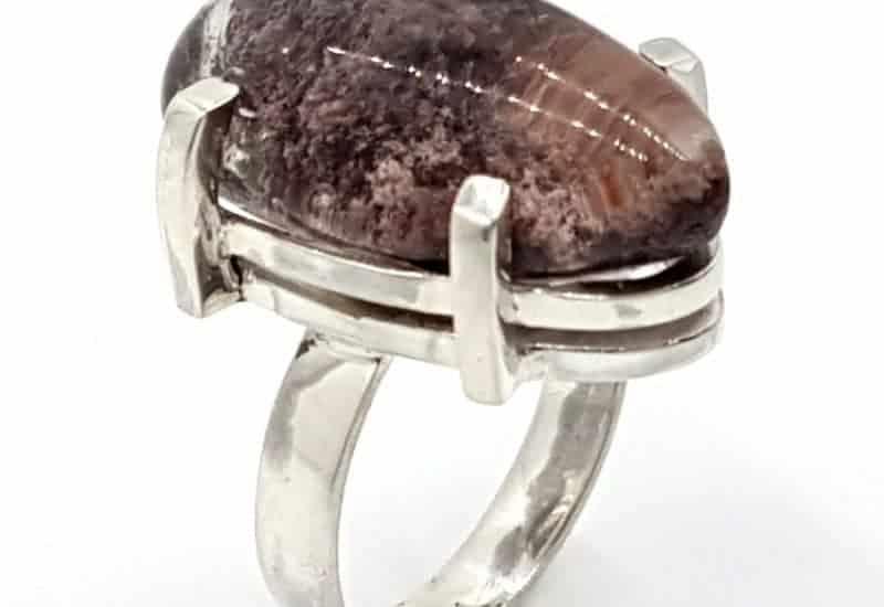Anillo de Cuarzo Lodolita fabricado en plata de ley