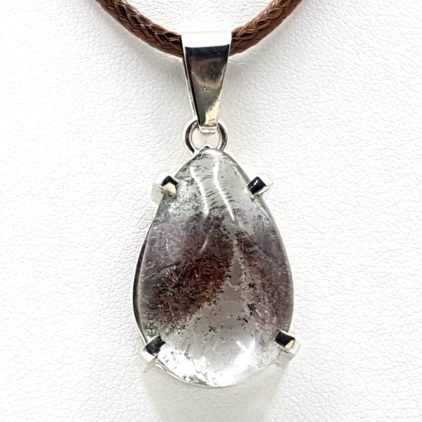 Colgante de cuarzo lodolita en plata, forma de gota
