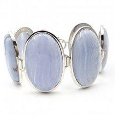 Pulsera de calcedonia azul en plata, cabujones ovalados