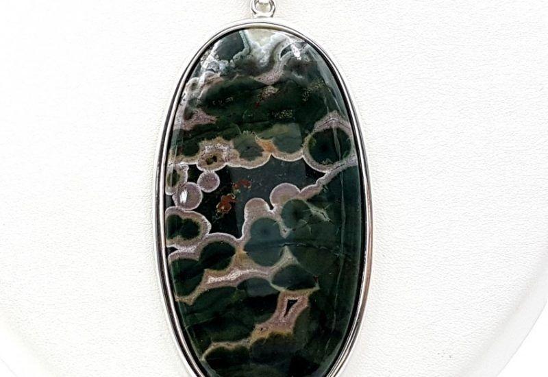 Colgante de Jaspe paisaje con forma oval fabricado en plata de ley