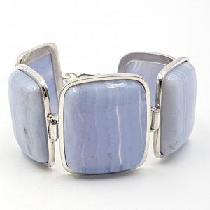 Pulsera de calcedonia azul en plata