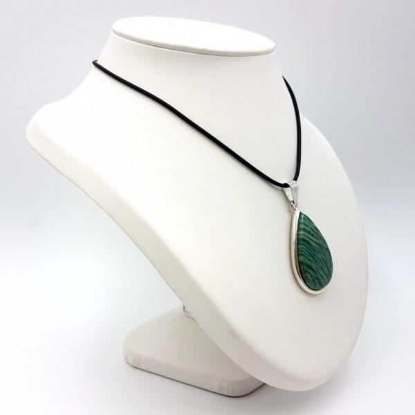 Colgante de amazonita con forma de gota en plata