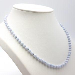 Collar de Calcedonia Azul y cierre de plata - bolas pequeñas 5 mm