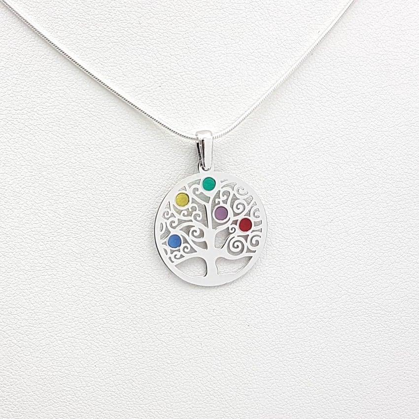 Colgante árbol de la vida en plata y esmalte de colores