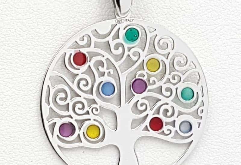 Colgante árbol de la vida fabricado en plata de ley y esmaltes de colores