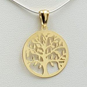 Colgante árbol de la vida en plata con baño de oro