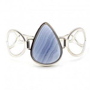 Pulsera de Calcedonia Azul fabricada en plata de ley - gota