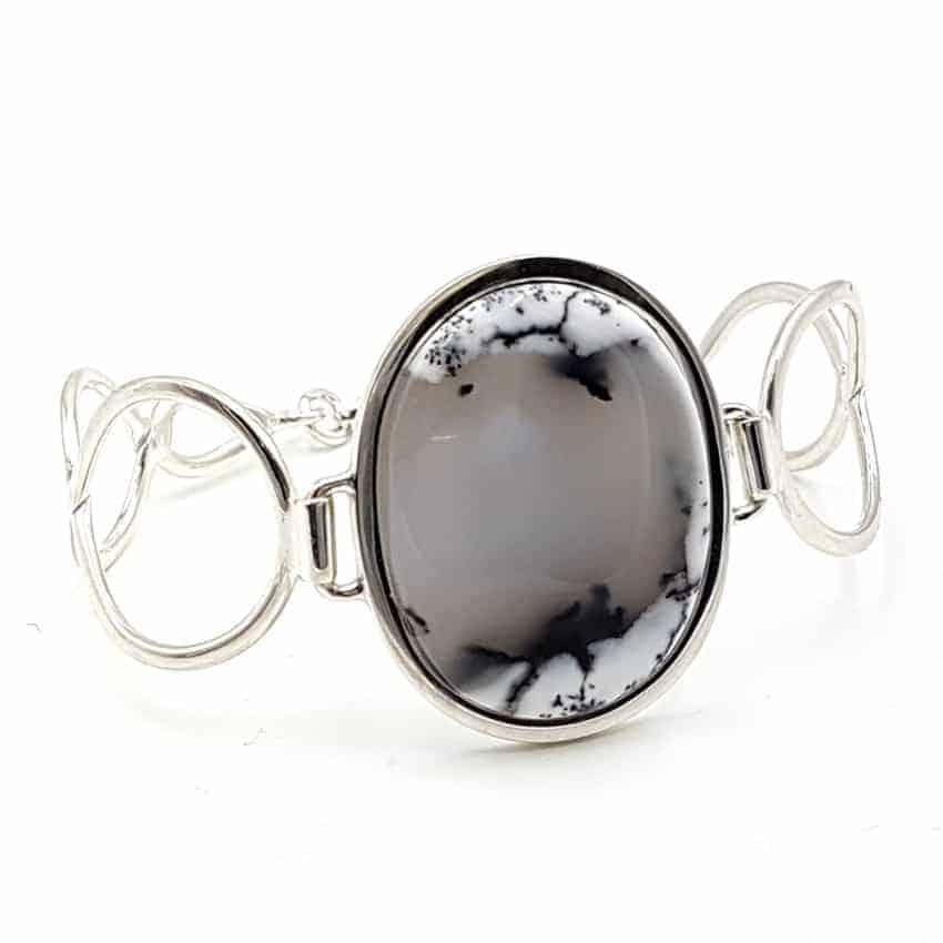 Pulsera con ópalo dendrítico en plata, forma oval