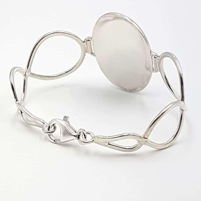 Pulsera de serafinita en plata, forma oval