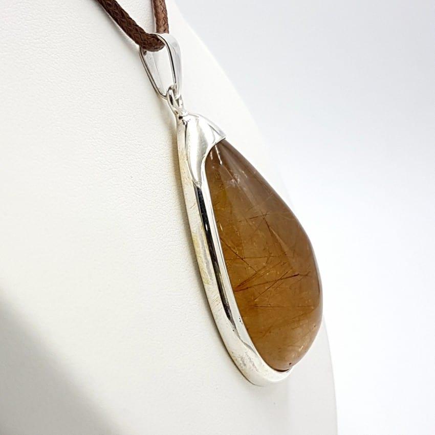 Colgante con cuarzo rutilado en plata, forma de gota