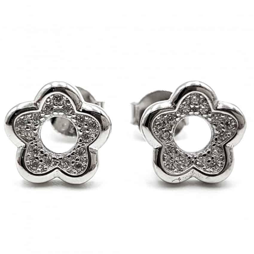 Pendientes flor con circonitas en plata