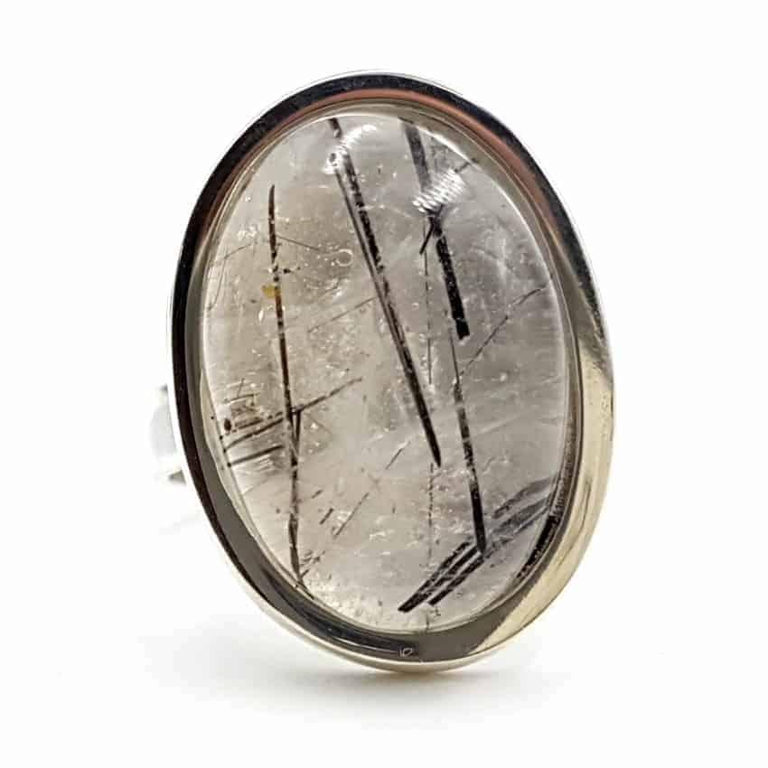 Anillo cuarzo turmalinado en plata, forma oval