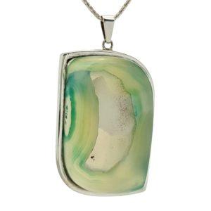 Colgante geoda de ágata verde en plata 925