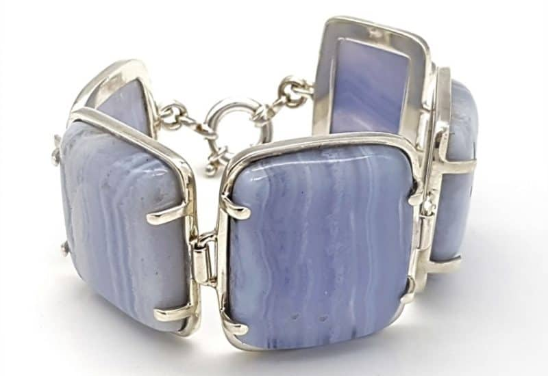 Pulsera de Calcedonia Azul  – 18 cm