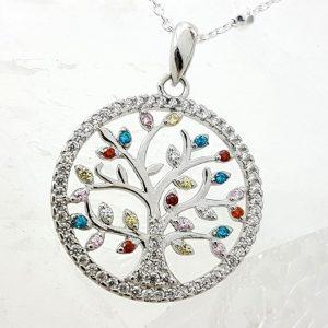 Colgante árbol de la vida con circonitas en plata
