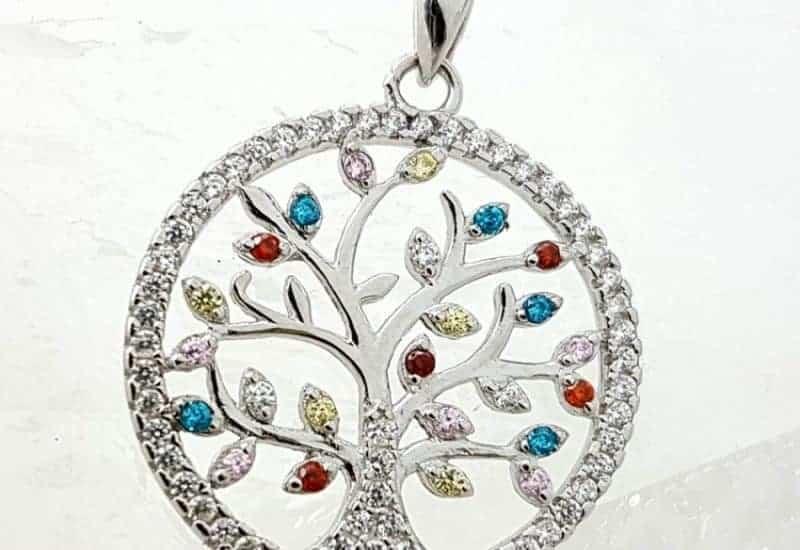 Colgante Árbol de la Vida fabricado en plata de ley con Circonitas