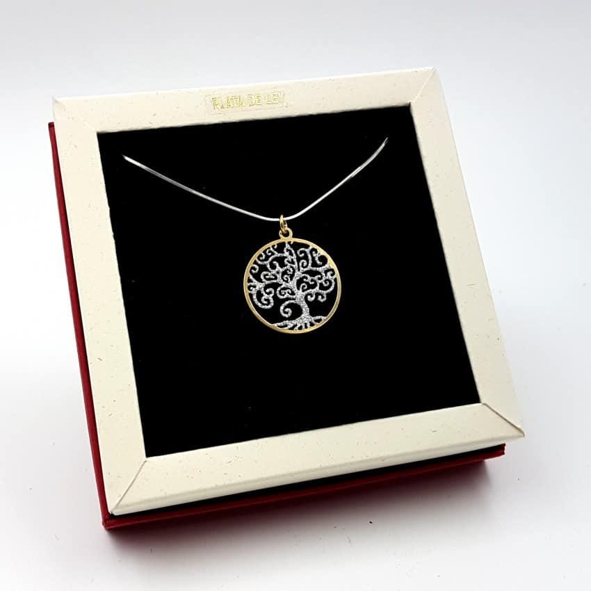 Colgante de plata con ba o de oro rbol de la vida for Plata con bano de oro