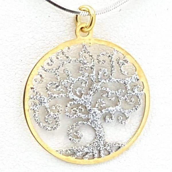 Colgante de plata con baño de oro, árbol de la vida