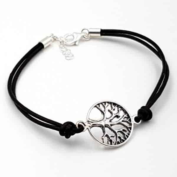 Pulsera con árbol de la vida en plata y cuero