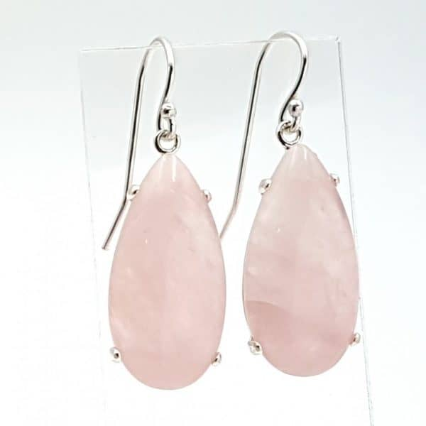 Pendientes de cuarzo rosa en plata