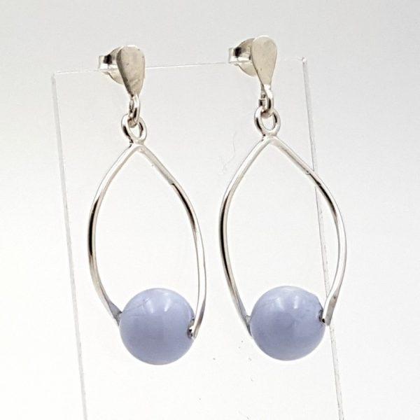 Pendientes de calcedonia azul en plata