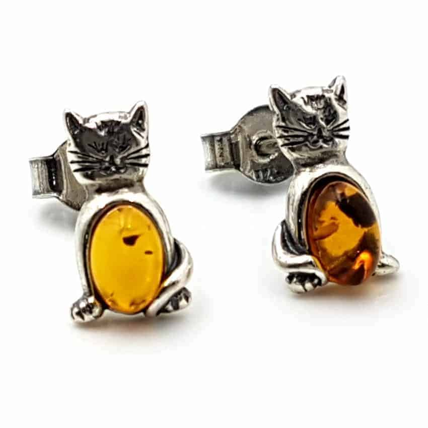 Pendientes con forma de gato en plata y ámbar 25762